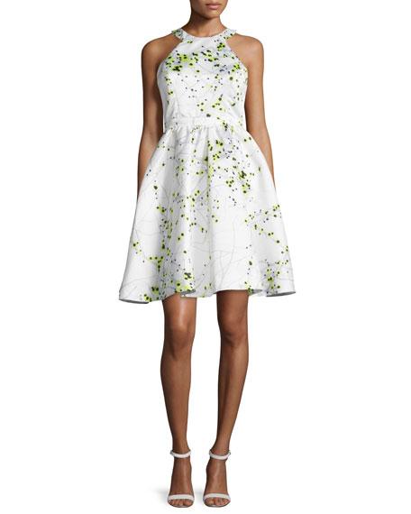 Parker Black Christine Fit & Flare Printed Dress