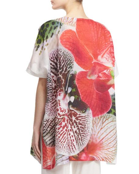 Short-Sleeve Tropical Orchid-Print Caftan, Petite