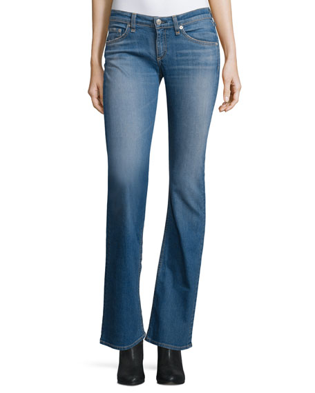 rag & bone/JEAN Low-Rise Boot-Cut Jeans, Delancey