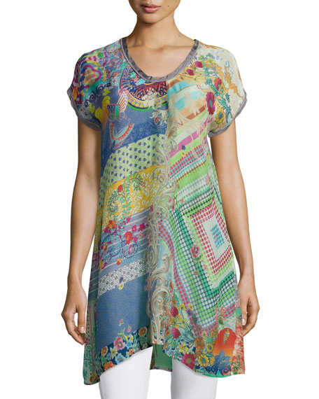 Johnny Was Collection Alyssa Short-Sleeve Printed Tunic