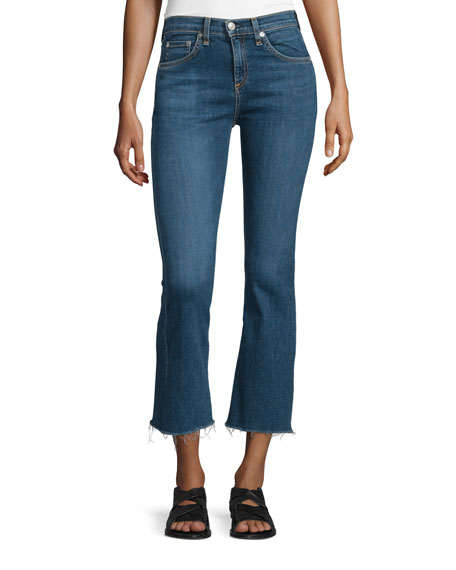 rag bone jean mid rise cropped flare leg jeans paz. Black Bedroom Furniture Sets. Home Design Ideas