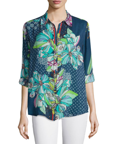 Johnny Was CollectionKay Long-Sleeve Button-Front Printed Blouse,