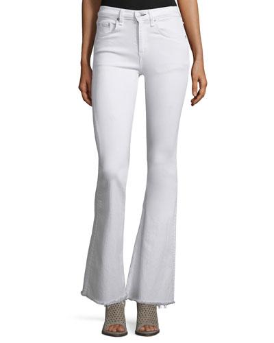 Beach Bell Flare-Leg Jeans, Bright White