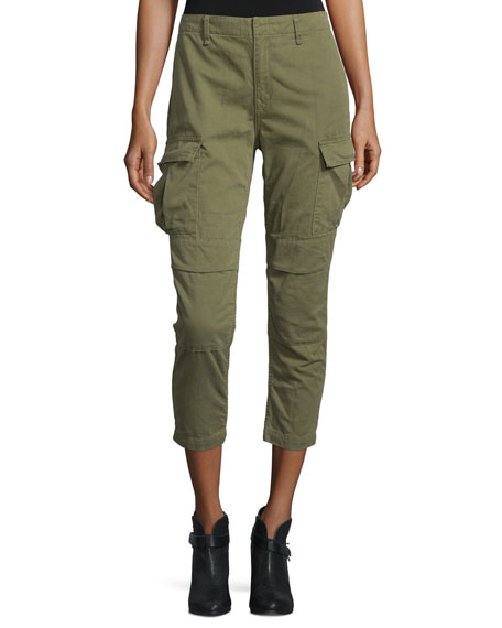 rag & bone/JEAN High-Waist Cropped Cargo Pants, Army