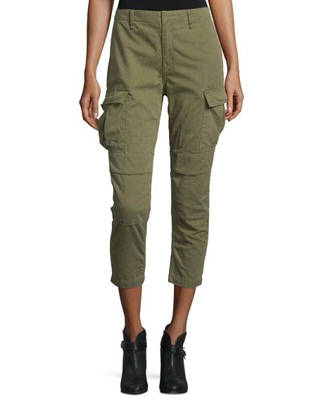 rag & bone/JEAN High-Waist Cropped Cargo Pants, Army