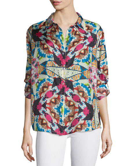 Johnny Was Collection Kay Long-Sleeve Printed Blouse, Plus