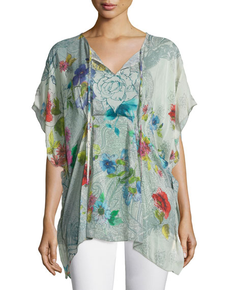 Johnny Was Collection Floral-Print Tie-Neck Poncho, Plus Size