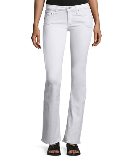 rag & bone/JEAN Low-Rise Boot-Cut Jeans, Bright White