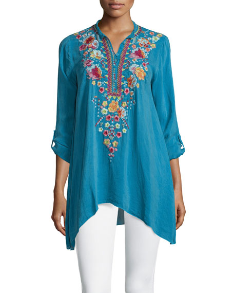 Johnny Was Collection Sable Long-Sleeve Embroidered Tunic, True