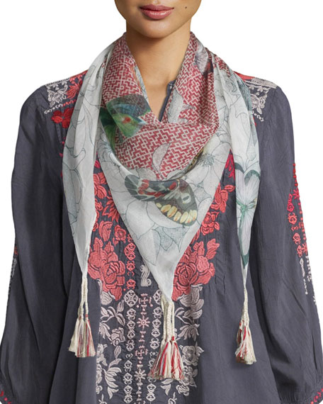 Johnny Was Collection Butterfly Silk Printed Scarf