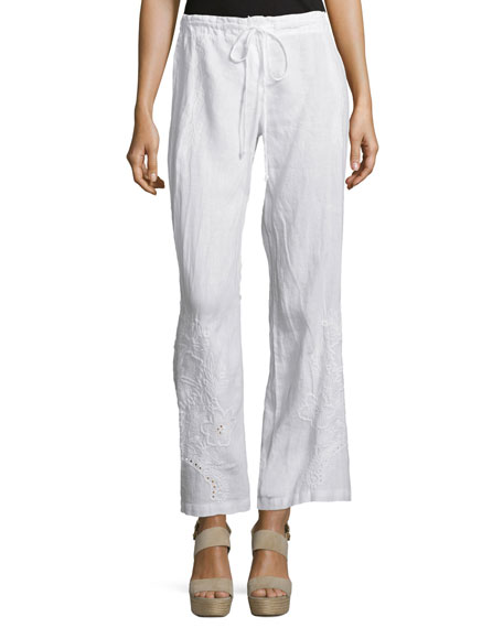 Johnny Was Collection Vomera Embroidered Drawstring Pants