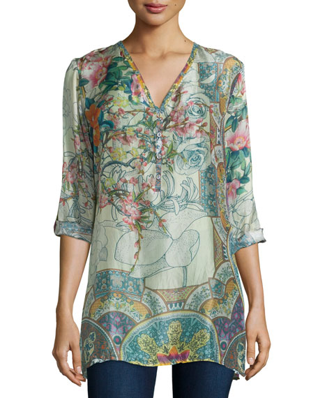 Johnny Was Collection Villa Long-Sleeve Printed Silk Blouse,
