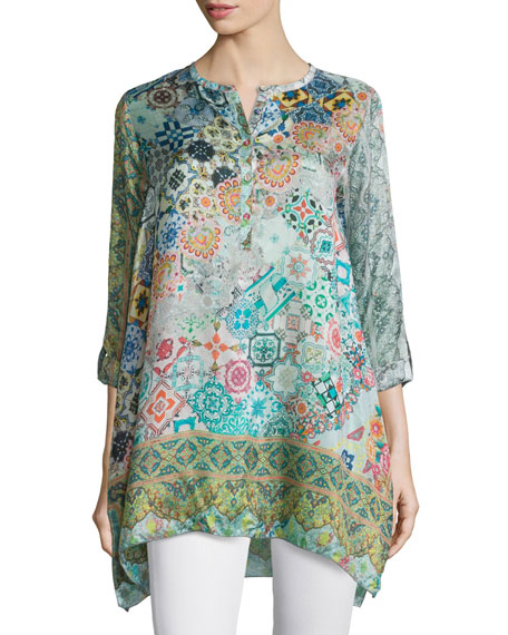 Johnny Was Collection Jessner Tab-Sleeve Long Blouse, Plus
