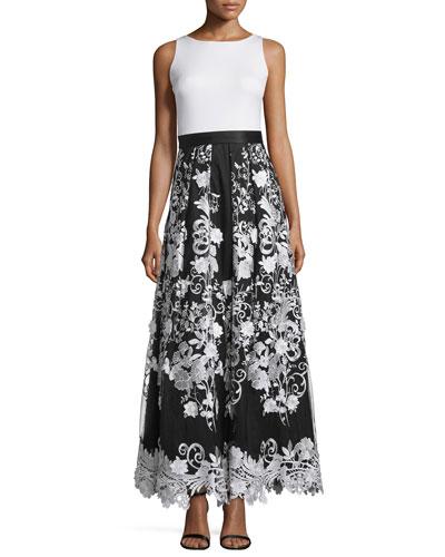Sleeveless Combo Floral-Skirt Dress