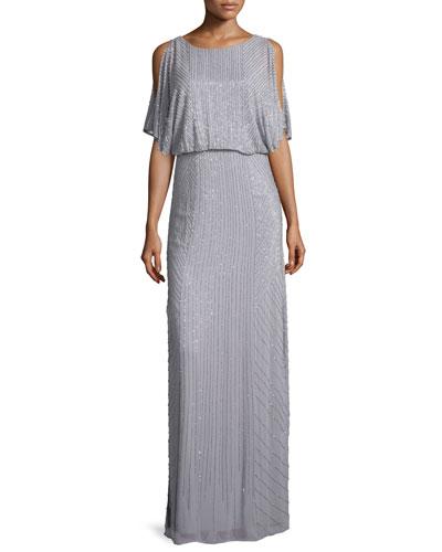 Flutter-Sleeve Sequined Blouson Dress