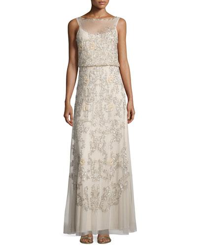 Sleeveless Beaded Blouson A-line Dress