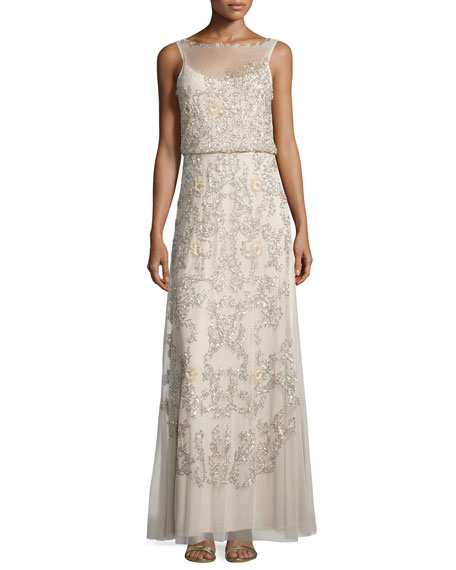 Aidan Mattox Sleeveless Beaded Blouson A-line Dress