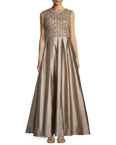 Sleeveless Beaded Bodice Ball Gown