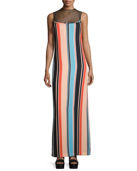 Opening Ceremony Sleeveless Sheer-Yoke Striped Maxi Dress,
