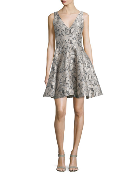 Opening Ceremony Sleeveless Printed Party Dress, Blush Pink/Multi
