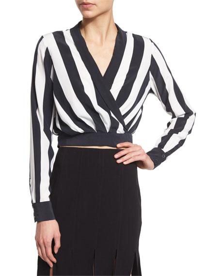 Kendall + Kylie Long-Sleeve V-Neck Striped Crop Top, Stripe Print