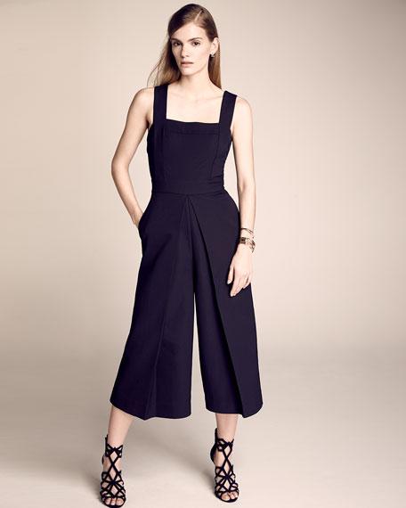 Sleeveless Wide-Leg Culotte Jumpsuit, Black