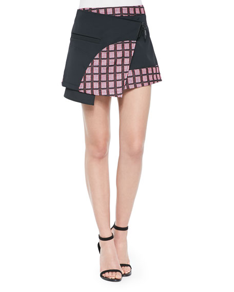 Marny Knit Utility Miniskirt, Black/Multi