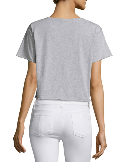 X-Boyfriend Graphic Cropped T-Shirt, Gray