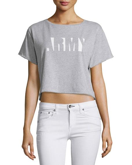 rag & bone/JEAN X-Boyfriend Graphic Cropped T-Shirt, Gray