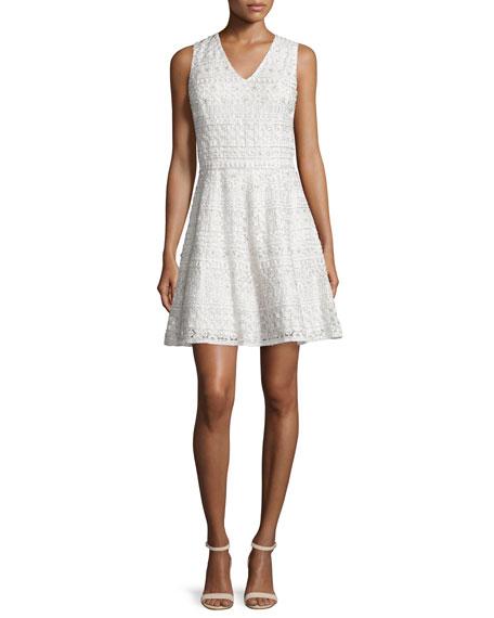 Alice + Olivia Reba Sleeveless Embroidered A-Line Dress, Cream