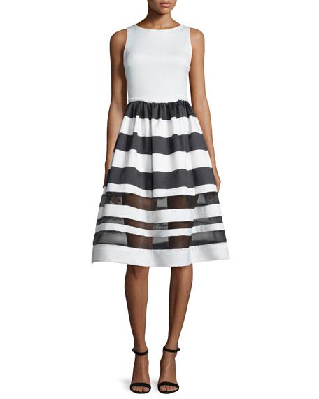 Alice + Olivia Sleeveless Larue Striped Combo Dress,