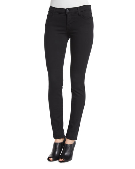 Mid Rise Super Skinny Ankle Jeans, Seriously Black by Neiman Marcus