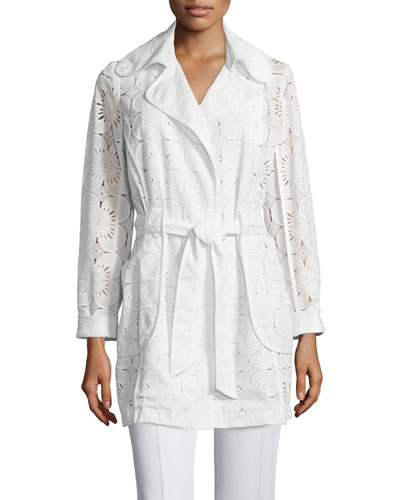 Long-Sleeve Lace Belted Coat, Whitewash