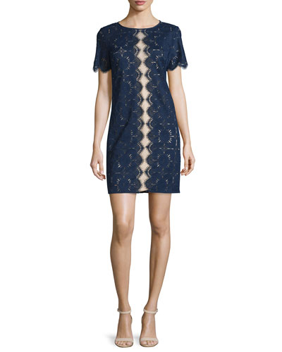 Short-Sleeve Lace Sheath Dress, Indigo