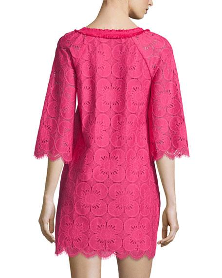 3/4-Sleeve Lace Tunic Dress, Cerise