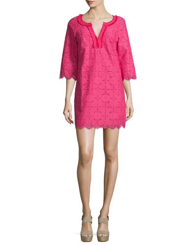 3/4-Sleeve Lace Tunic Dress, Cerise