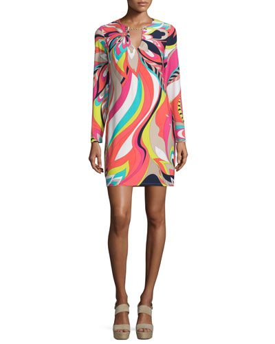 Long-Sleeve Floral-Print Dress, Multi Colors