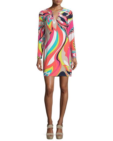 Trina Turk Long-Sleeve Floral-Print Dress, Multi Colors