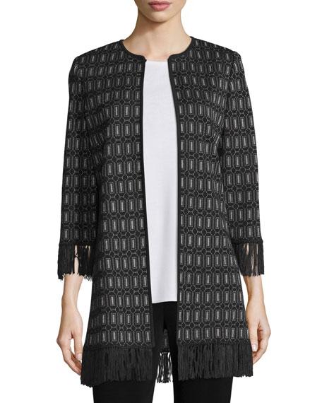 Misook 3/4-Sleeve Lace Jacket W/ Fringe Trim, Plus Size