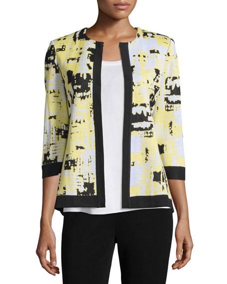 Misook 3/4-Sleeve Mosaic-Print Jacket