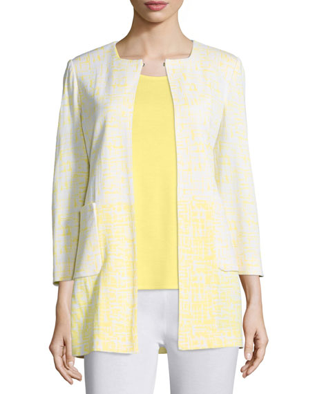 Misook 3/4-Sleeve Long Ombre Printed Jacket, Daisy/White, Plus