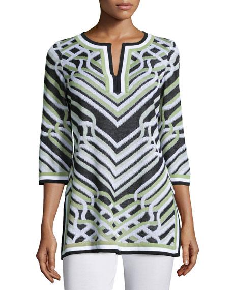 Labyrinth-Print 3/4-Sleeve Tunic