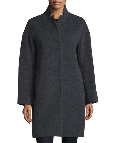 Notched-Collar Cocoon Coat, Gray