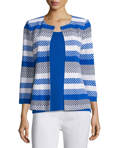 Tailored 3/4-Sleeve Striped Jacket