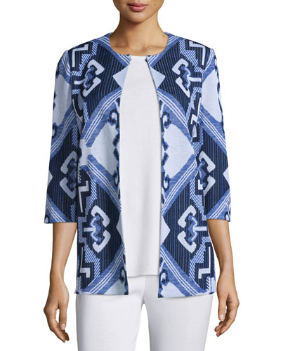 3/4-Sleeve Aztec Pattern Jacket