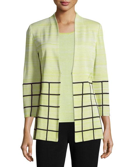 Misook 3/4-Sleeve Melange Jacket W/ Grid Border, Plus