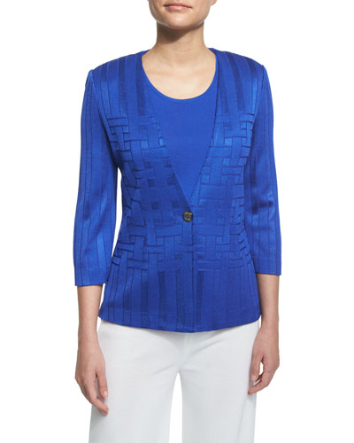 3/4-Sleeve Woven-Pattern Jacket, True Blue