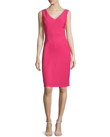 Rene Ruiz Sleeveless V-Neck Sheath Dress, Pink