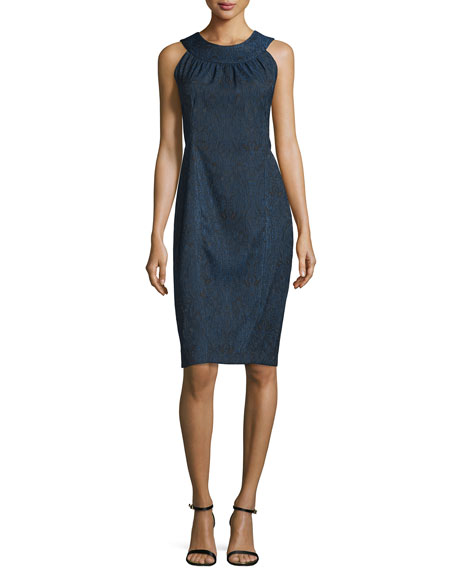 Rene Ruiz Sleeveless Halter-Neck Sheath Dress, Black/Blue