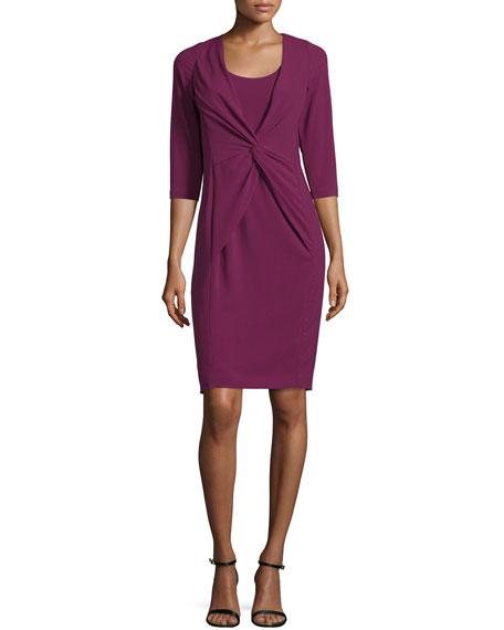 Rene Ruiz 3/4-Sleeve Twist-Front Dress, Purple